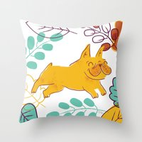 Happy Fall, Dogs! (Frenc… Throw Pillow
