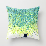 Cat In The Garden Under … Throw Pillow