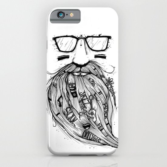 Beard Me Some Music (Black & White) iPhone & iPod Case