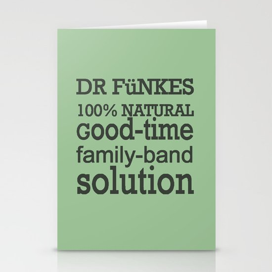 Dr. Funke's 100% natural, good-time family-band solution, 2 Stationery Card