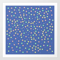 Dreamy Dots On Blue Art Print