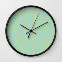Yellow Pit On Mint /// W… Wall Clock