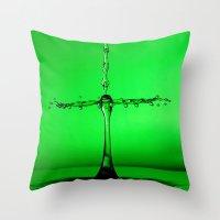 green splash Throw Pillow