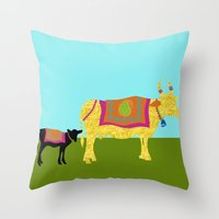 Streets of India- Cows Throw Pillow