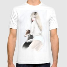 women_fox SMALL White Mens Fitted Tee