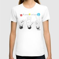 Rock Paper Scissors Womens Fitted Tee White SMALL