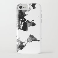 world map iPhone & iPod Cases featuring World Map  Black & White by WhimsyRomance&Fun