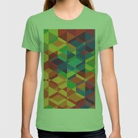 Geometric colour Womens Fitted Tee Grass SMALL