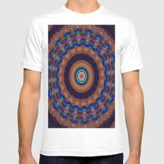 Peacock Pinwheel Mens Fitted Tee White SMALL