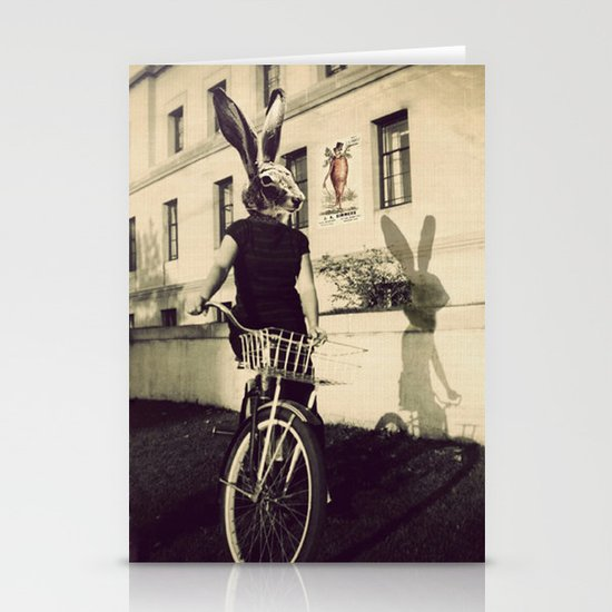 Bunny on Bicycle Stationery Card