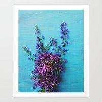 She Found Stray Flowers … Art Print