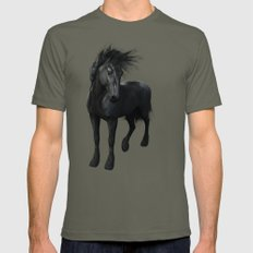 Gothic Friesian Horse Mens Fitted Tee Lieutenant SMALL