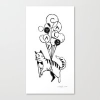 Cat Lady (Black and White) Canvas Print