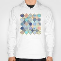 Cream, Navy and Aqua Geometric Tile Pattern Hoody