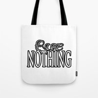 Rue Nothing White and Black Logo Tote Bag