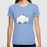 Mr. White Rhino Gets A H… Womens Fitted Tee Tri-Blue SMALL