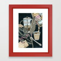 Still life with coffee, macarons, pine and feather Framed Art Print