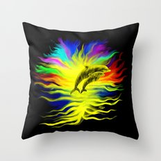 Dolphins in the Sunshine - Fantasy Rainbow-Art Throw Pillow