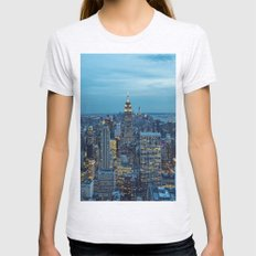 NYC Skyline a Night Womens Fitted Tee Ash Grey SMALL