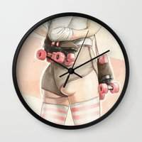 Skating in the Pink Wall Clock