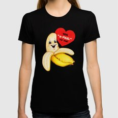 Valentine- Banana Womens Fitted Tee Black SMALL