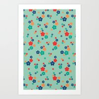blossom ditsy in grayed jade Art Print