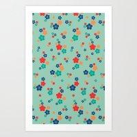 Blossom Ditsy In Grayed … Art Print