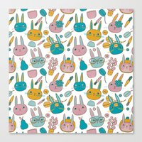 Pattern Project #14 / Bunny Faces Canvas Print