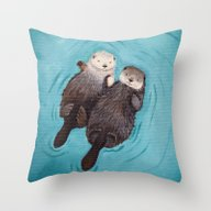 Throw Pillow featuring Otterly Romantic - Otter… by When Guinea Pigs Fly
