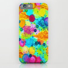 TIME FOR BUBBLY - Colorful Bright Bold Abstract Acrylic Painting, Turquoise Royal Blue Magenta iPhone 6s Slim Case