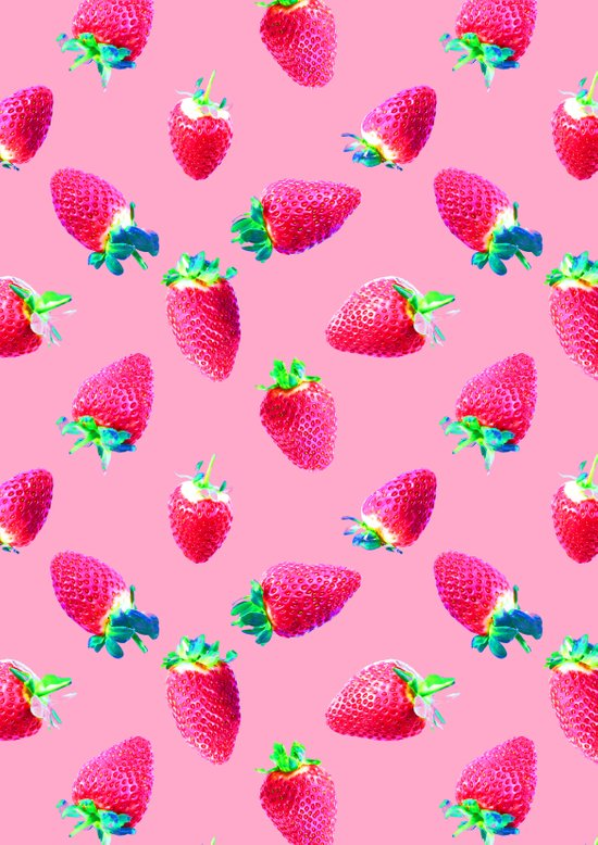 Pink Strawberry Pop Art Print