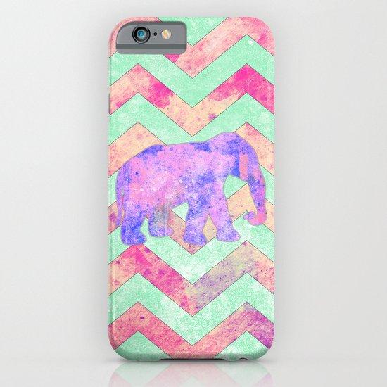 Whimsical Purple Elephant Mint Green Pink Chevron iPhone & iPod Case