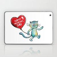 Happy Valentine's Day - Balloon heart and a kitten Laptop & iPad Skin