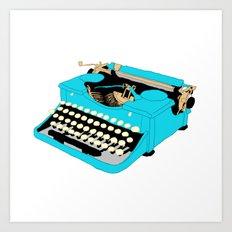 Blue Typewriter Art Print
