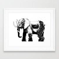 Framed Art Print featuring Elephant Machine God by Suarez Art