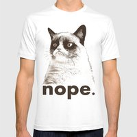 GRUMPY CAT - Nope (version 2) Mens Fitted Tee White SMALL