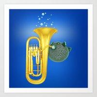 Puffer Fish Playing Tuba Art Print