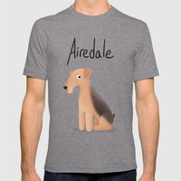 Airedale - Cute Dog Series Mens Fitted Tee Tri-Grey SMALL