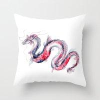 Koi Dragon Throw Pillow
