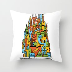 Monster Tower III Throw Pillow