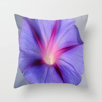 Close Up of A Morning Glory Purple and Pink Flower Throw Pillow