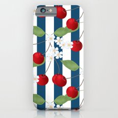 Seamless pattern with cherry and flowers on striped background Slim Case iPhone 6s