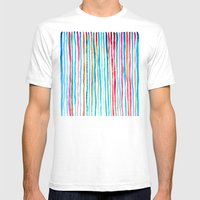 Watercolor Stripes In Pi… Mens Fitted Tee White SMALL