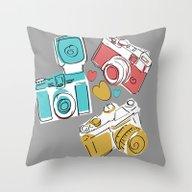 Handrawn Vintage Cameras… Throw Pillow