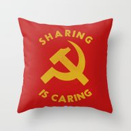 Throw Pillow featuring Sharing Is Caring by Landon Sheely