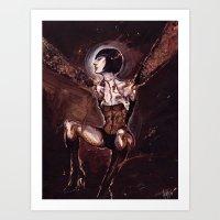 Silent Hill Fukuro Lady - gouache and acrylic Art Print