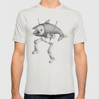 'Evolution I' Mens Fitted Tee Silver SMALL