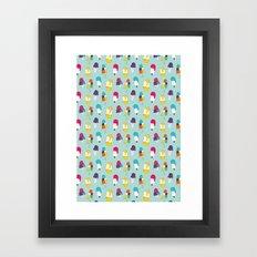 Ice cream pattern - light blue Framed Art Print