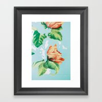 Vintage Metal Rose Laundry Bin Framed Art Print