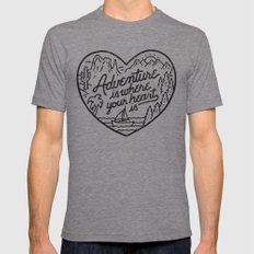 Adventure Is Where Your … Mens Fitted Tee Tri-Grey SMALL